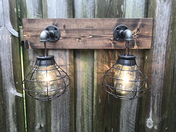 Rustic Industrial Modern Mason Jar Lights Vanity Light: ESPRESSO Vanity Light Fixture, 2 Mason Jar Light Fixture