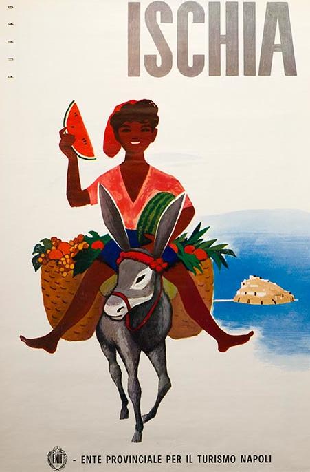 "Poster by Mario Puppo, 1954, ""Ischia"". (I)"