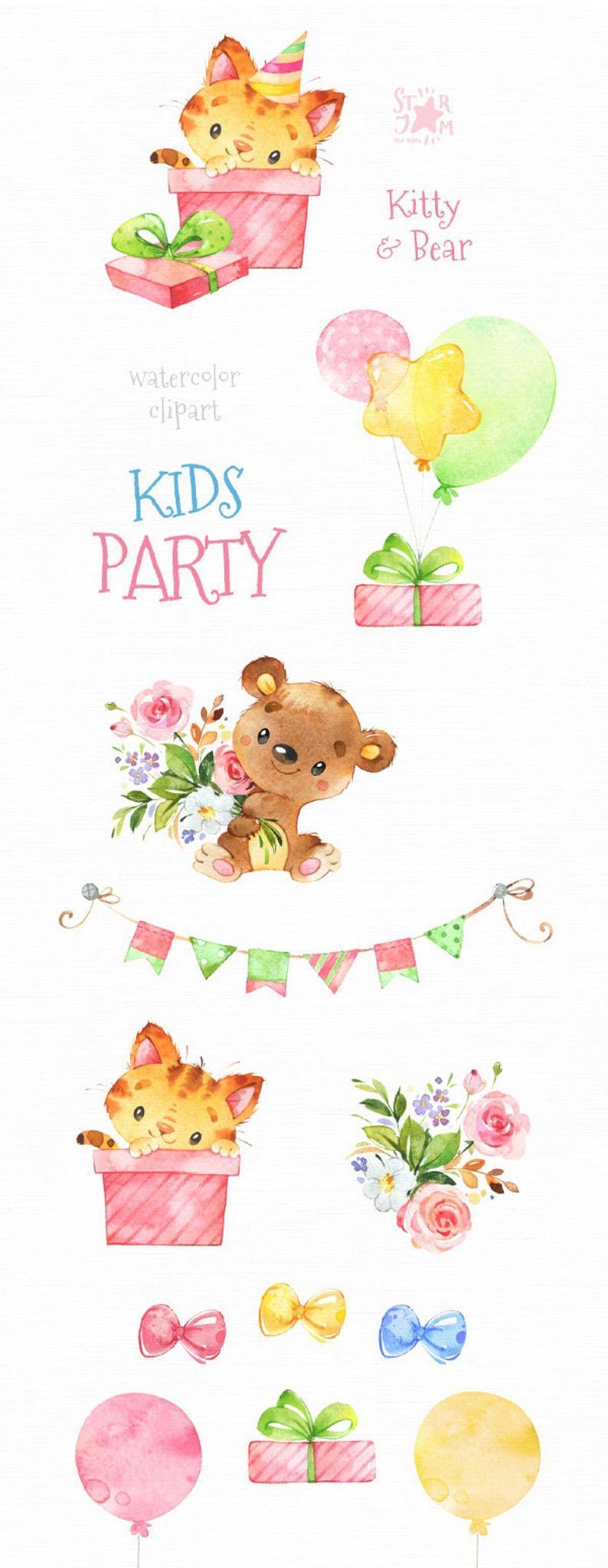 Kids Party 3 Kitty & Bear Watercolor little animal Birthday | Etsy