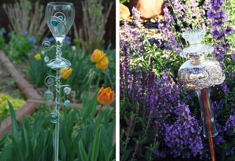 Gartendeko Aus Gläsern, Schüssel Und Schalen Basteln | Garten ... Gartenstecker Basteln Ideen Gartendeko