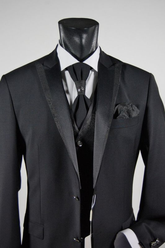 4ac0e6d3be56 Black stretch wool suit men drop ceremony six musani
