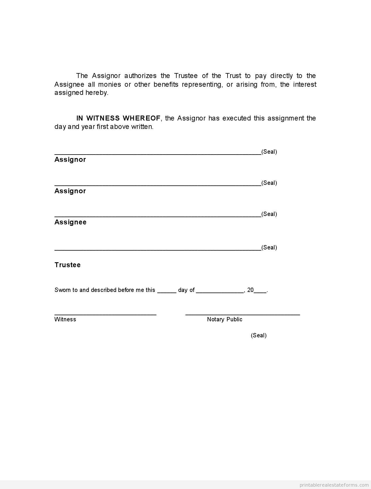 Sample Printable Assignment Of Beneficial Interest In Trus Form