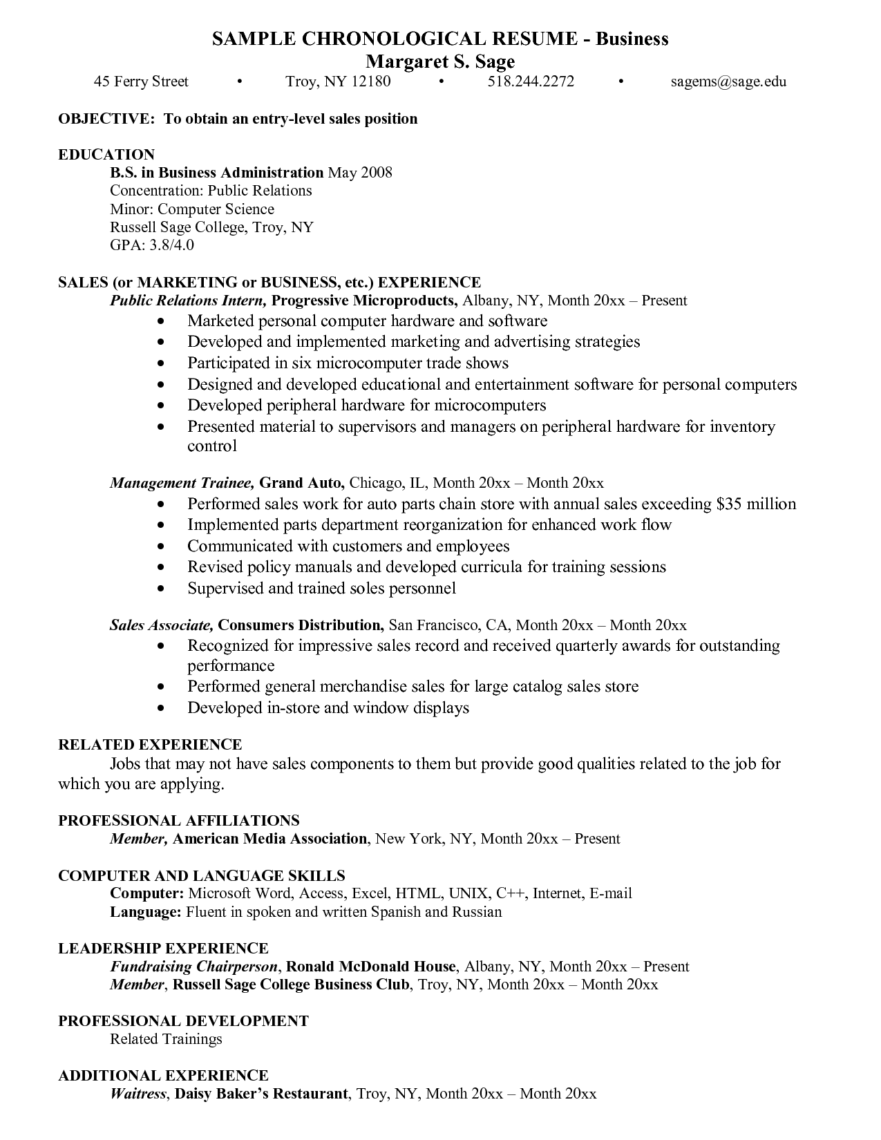 Resume Business Objective For Sales Affiliations Professional Organization