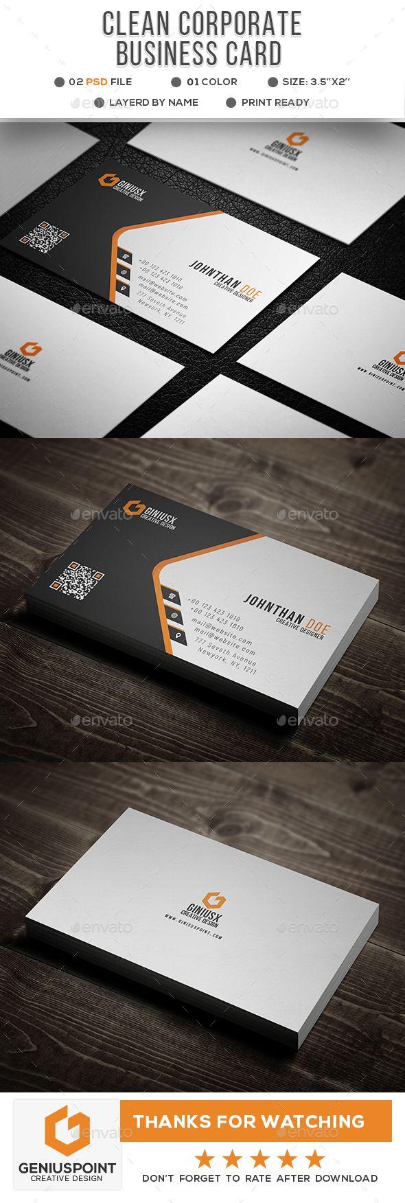 Clean Corporate Business Card Corporate Business Card Minimal Business Card Printing Business Cards