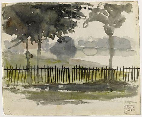 Eugene Delacroix Paysage De La Campagne Anglaise Avec Trois