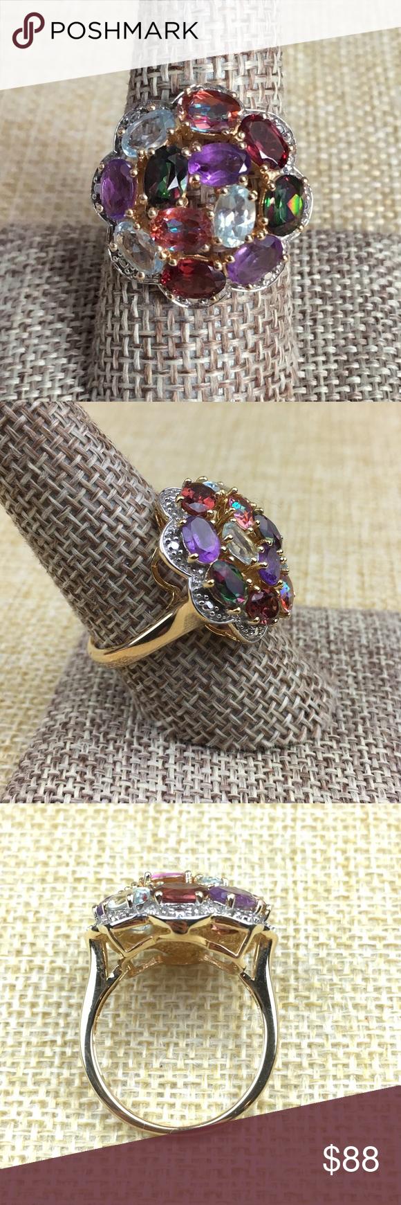 Clyde Duneier CID Gemstone Vermeil Ring Size 9 Womens
