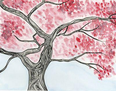 Cherry Tree Art Print Cherrytree Red Flower Tree Ink Watercolor Lines Drawing Painting Art Prints Art Tree Art
