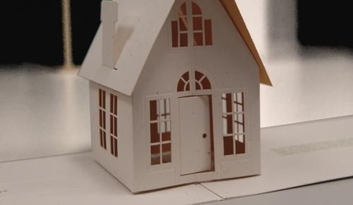 flat top haircut laser cut pop up house card pre scored and laser cut flat 9438