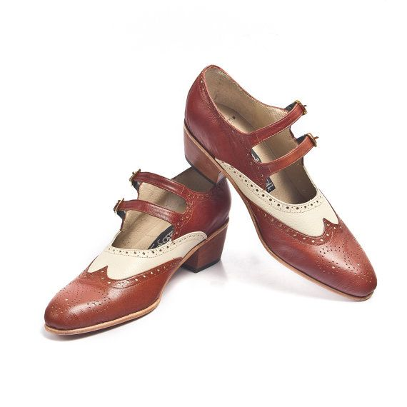brown and beige mary jane shoes vintage inspired- FREE ...