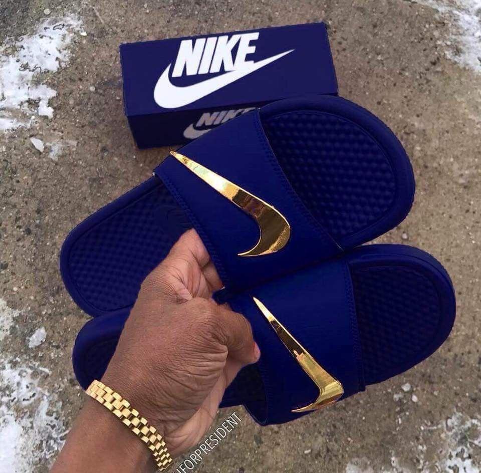 Chancletas Nike en color azul royal | Zapatos nike hombre ...