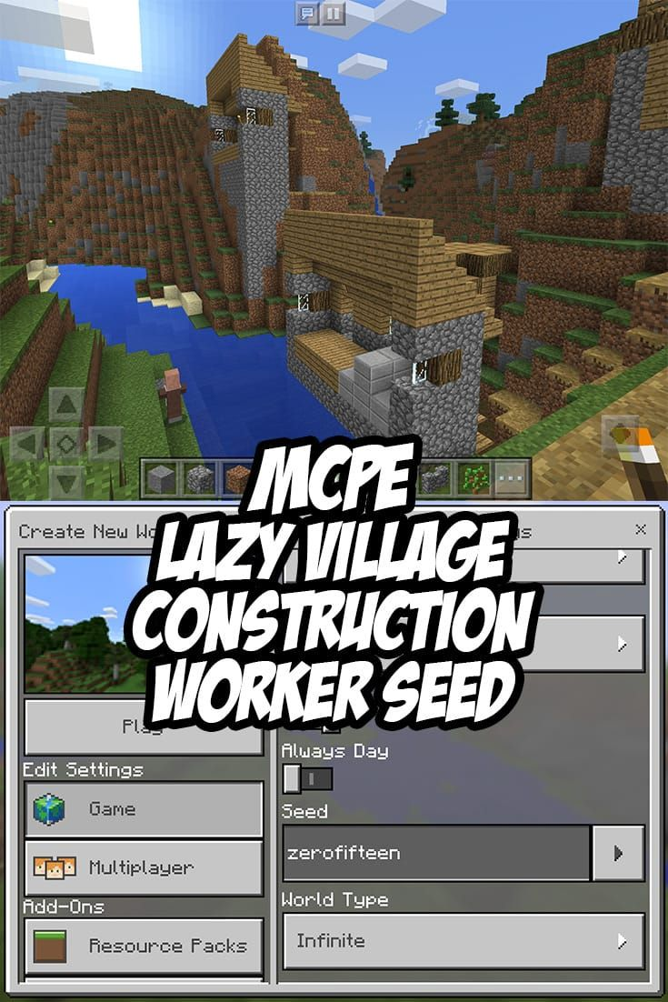 Mcpe lazy village construction crew seedzerofifteen minecraft pe seeds pinterest lazy construction and minecraft pe