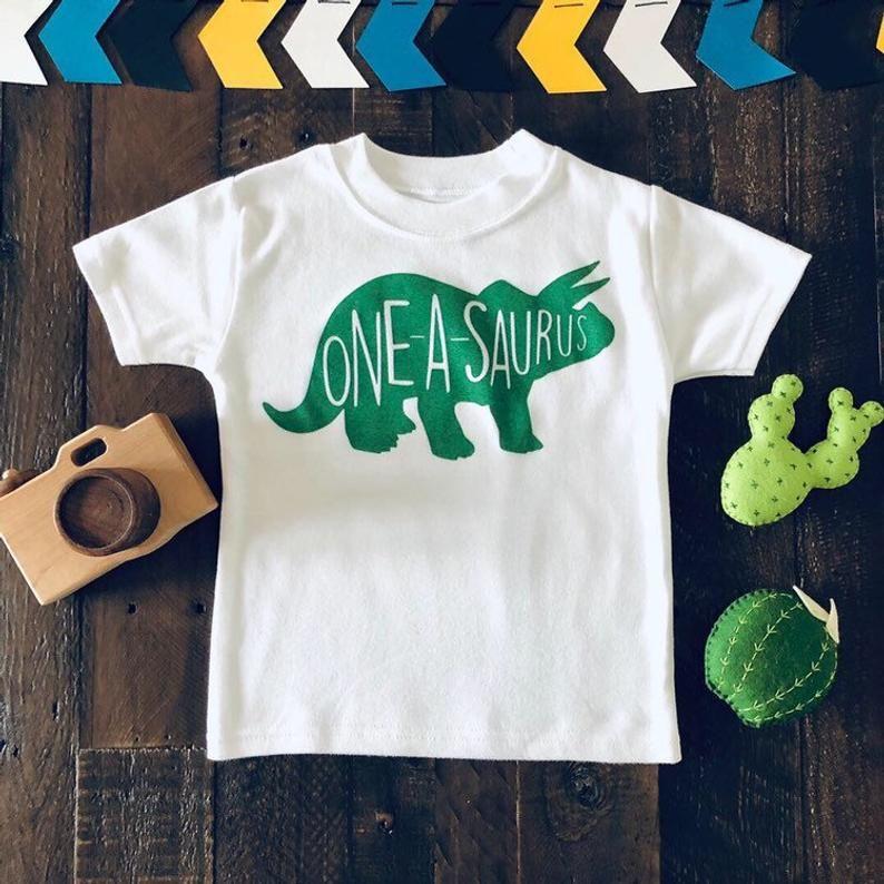 Oneasaurus Birthday Shirt One Year Old Dino Birthday Shirt