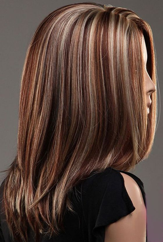 Brunette With A Mix Of Blonde And Red Highlights 2017
