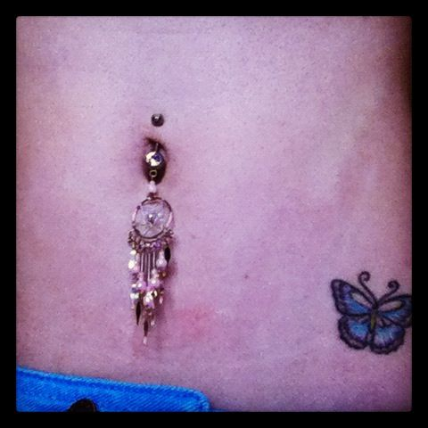 Dream Catcher Belly Ring And Tattoo Belly Tattoo Dreamcatcher Tattoo Thigh Tattoos