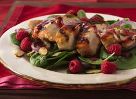 grilled chicken and raspberry salad  Homemade raspberry dressing with a touch of sweetness tops this pretty main-dish salad..