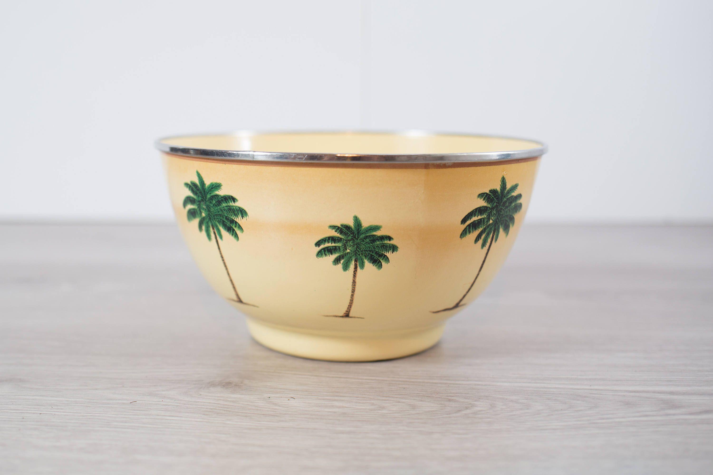 Palm Tree Bowl 70 s Kitsch Tropical Vacation Exotic Hawaiian