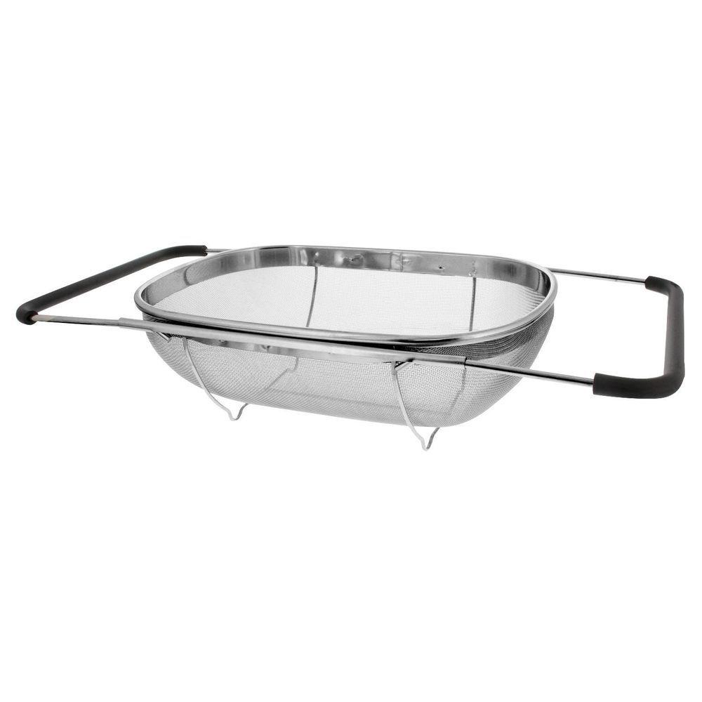 Over The Sink Strainer 6 Quart Stainless Steel Fine Mesh Sieve Kitchen  Colander