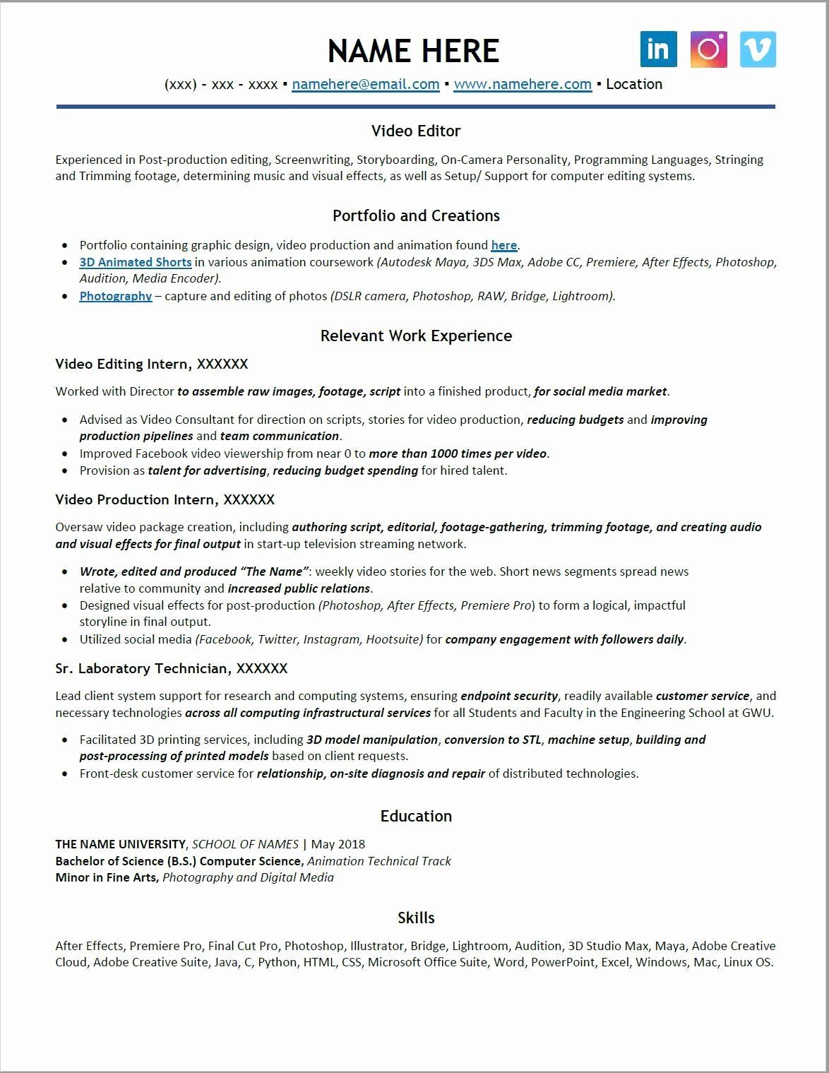 Video Editor Resume Examples Beautiful What S Wrong with