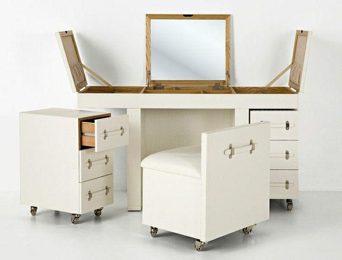 Jolie coiffeuse avec miroir 40 id es pour choisir la meilleure pi ces de - Coiffeuse meuble blanc ...