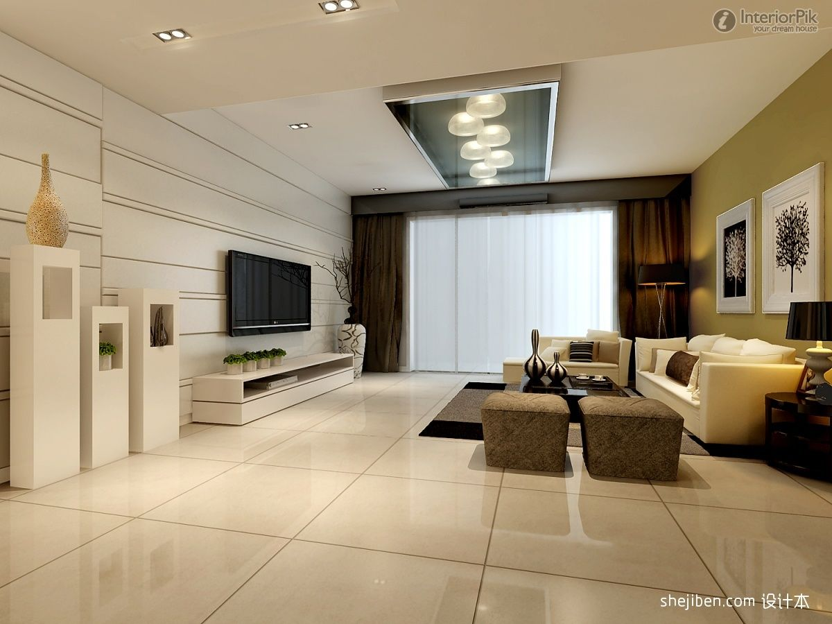 living-room-suspended-ceiling-with-pendant-lights-feature ...