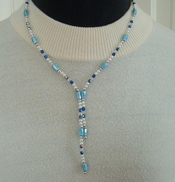FASHION MAGNETIC HEMATITE BEAD NECKLET ANKLET BRACELET WRAP BLUE SILVER COLOUR