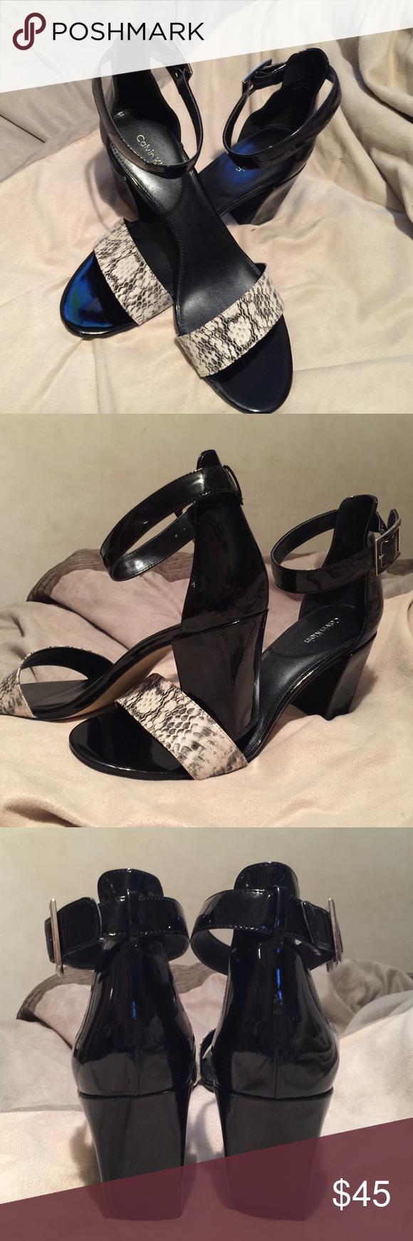984eab054d8 Calvin Klein Black Patent & Snake Skin Heels Stylish Calvin Klein ...