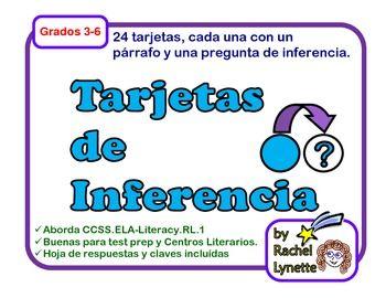 Tarjetas de trabajo: Inferencia (Inference Task Cards in Spanish ...