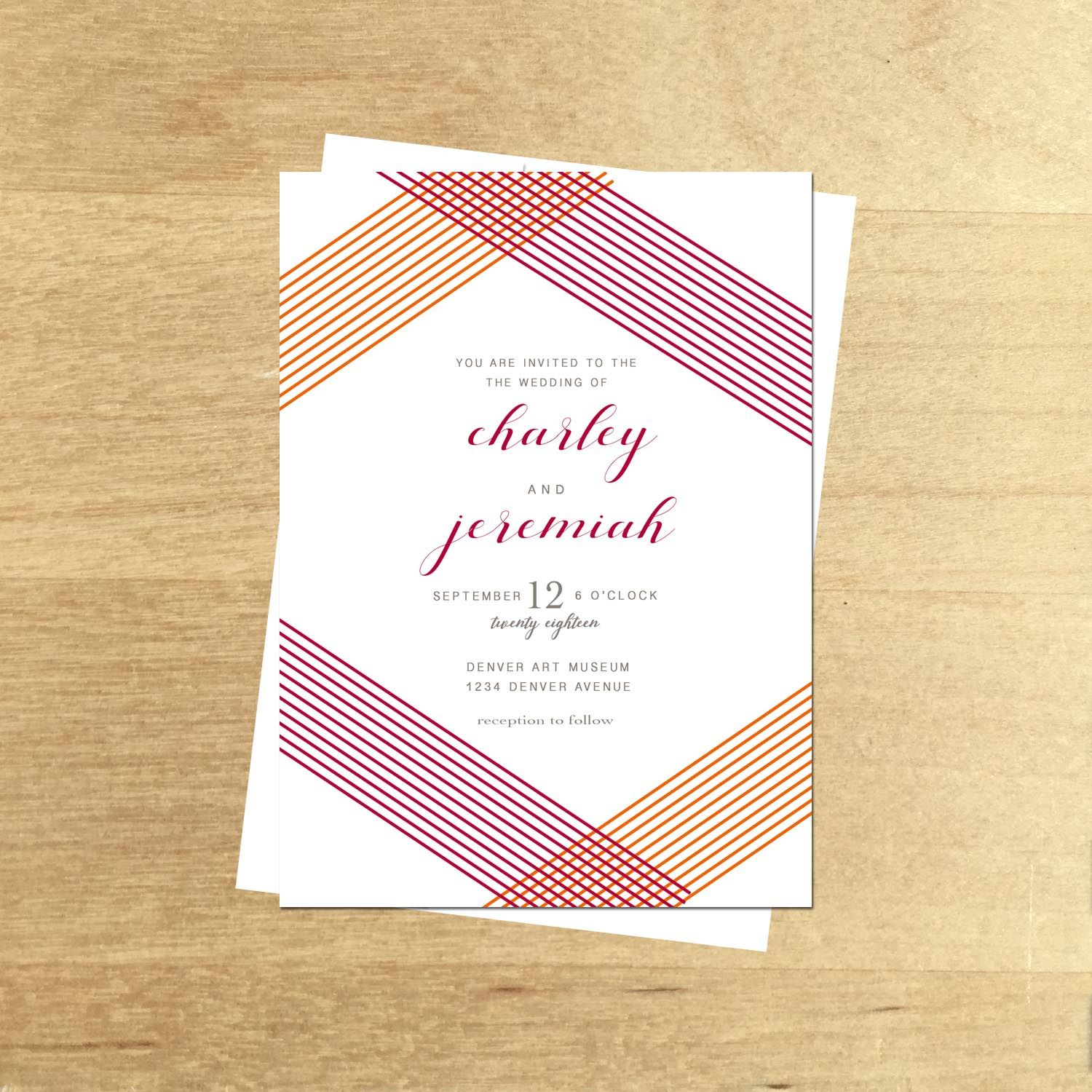 Affordable wedding Invitation Modern Art Deco Style. Perfect for ...