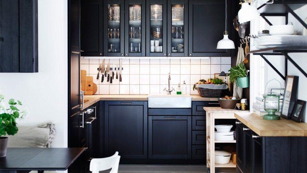petite cuisine ikea traditionnelle noire cuisine. Black Bedroom Furniture Sets. Home Design Ideas