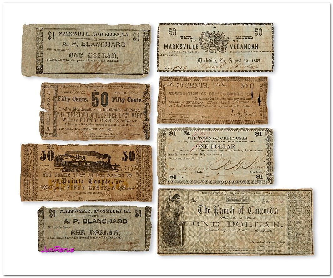 (CIVIL WAR--LOUISIANA.) Group of 8 obsolete Louisiana Confederate banknotes. Various sizes and conditions, all less than 3 x 7 inches, with generally moderate wear, all signed and circulated. Vp, 1862 and undated