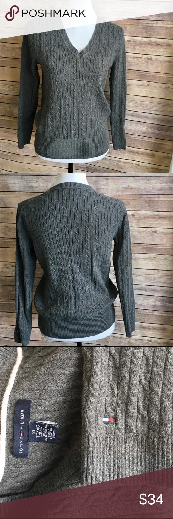 Tommy Hilfiger 100% Cotton V Neck Sweater | V neck sweaters, V ...
