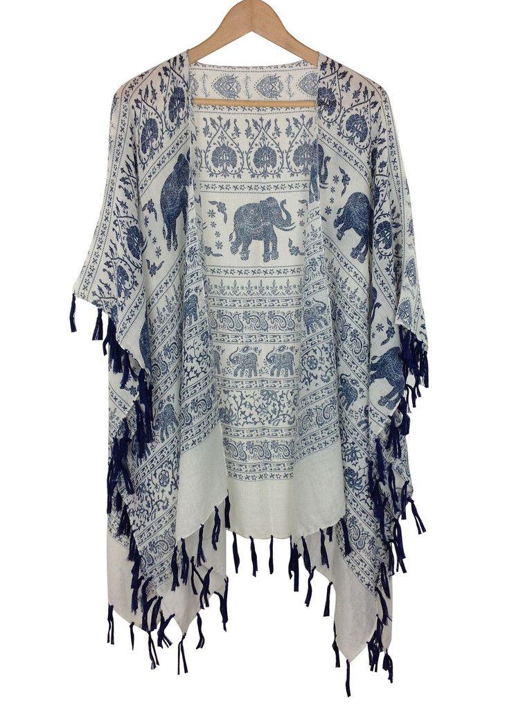 Boho elephant kimono   Summer   Fashion, Fashion outfits ...