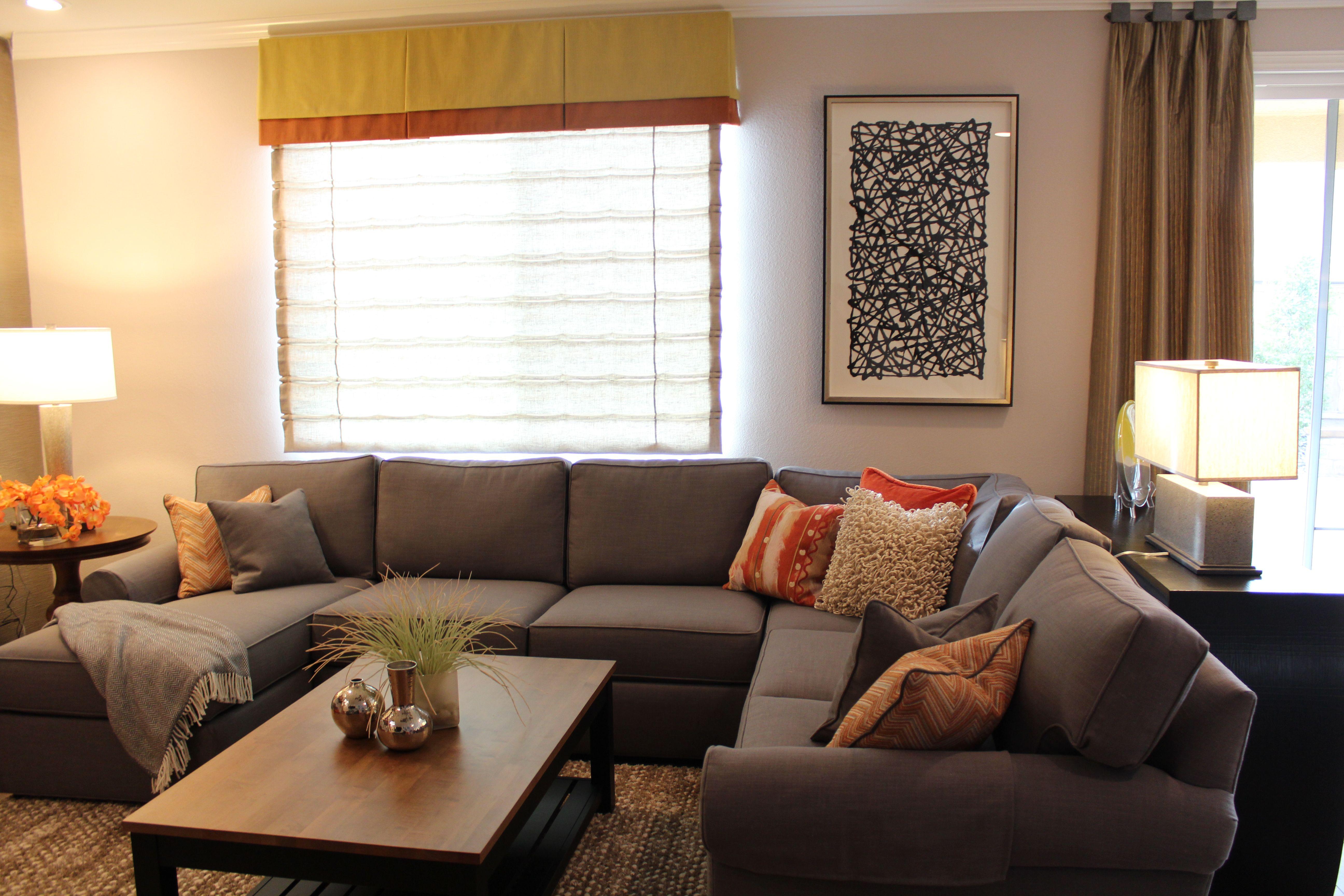Grey Linen Ethan Allen Retreat Sectional Mila Concrete Lamps - Conversation sofa ethan allen bennett roll arm