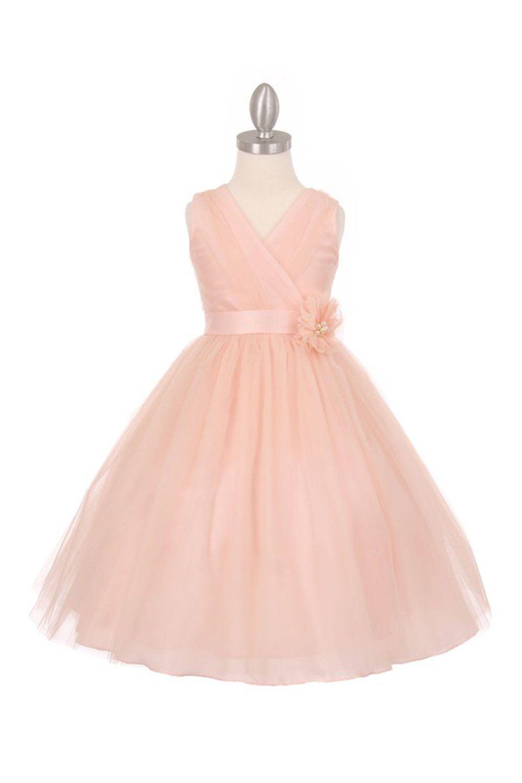 Blush Sleeveless Tulle V-Neck Flower Girl Dress | Wedding stuff with ...
