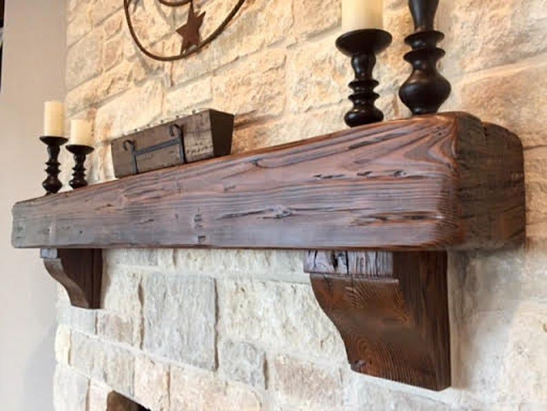 6 X 6 Mantel Made From Reclaimed Wood Beam Etsy In 2020 Rustic Fireplace Mantels Reclaimed Wood Mantel Fireplace Mantel Shelf