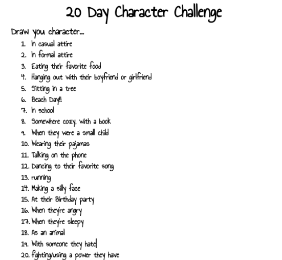 20 Day Character Drawing Challenge Drawing Challenge 30 Day Art Challenge Drawing Ideas List