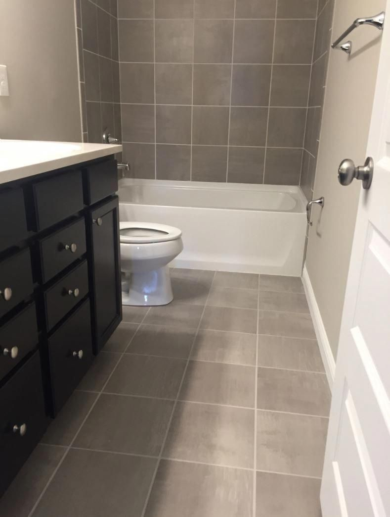 Skybridge Gray 12x12 Tile Installed Brick Joint On Floor And Walls Bathroomshapefloors