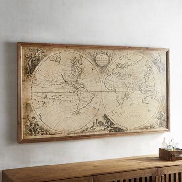 Pier 1 Imports Vintage-Style World Map Framed Wall Decor | Map frame ...