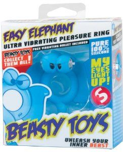 Vibrating Shots S-Line Beasty Toys Easy Elephant - Blue by SCP. $34.99. Hypoallergenic. Silicone. Vibrates. Latex Free, Light Up. Phthalate Free. From Shots Toys comes the S-Line Beasty Toys Easy Elephant. This simple elephant can cause strong outbursts. With its luminous eyes, it always ensures the perfect erection, whenever you want. The ring is flexible and retains its shape, and is easy to attach and to keep clean. It also adapts to your body temperature extremely f...