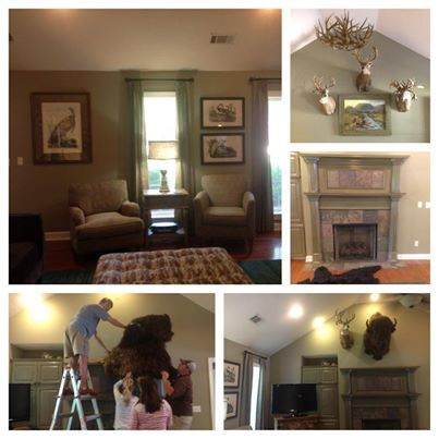 New drapes, paint, and mantel by Something Southern Interior Designs in Mississippi! Let us turn your home into your DREAM home.
