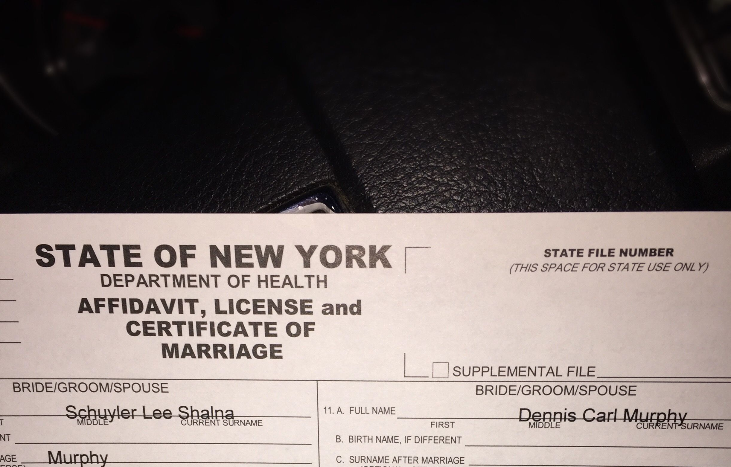 Marriage license marriage license