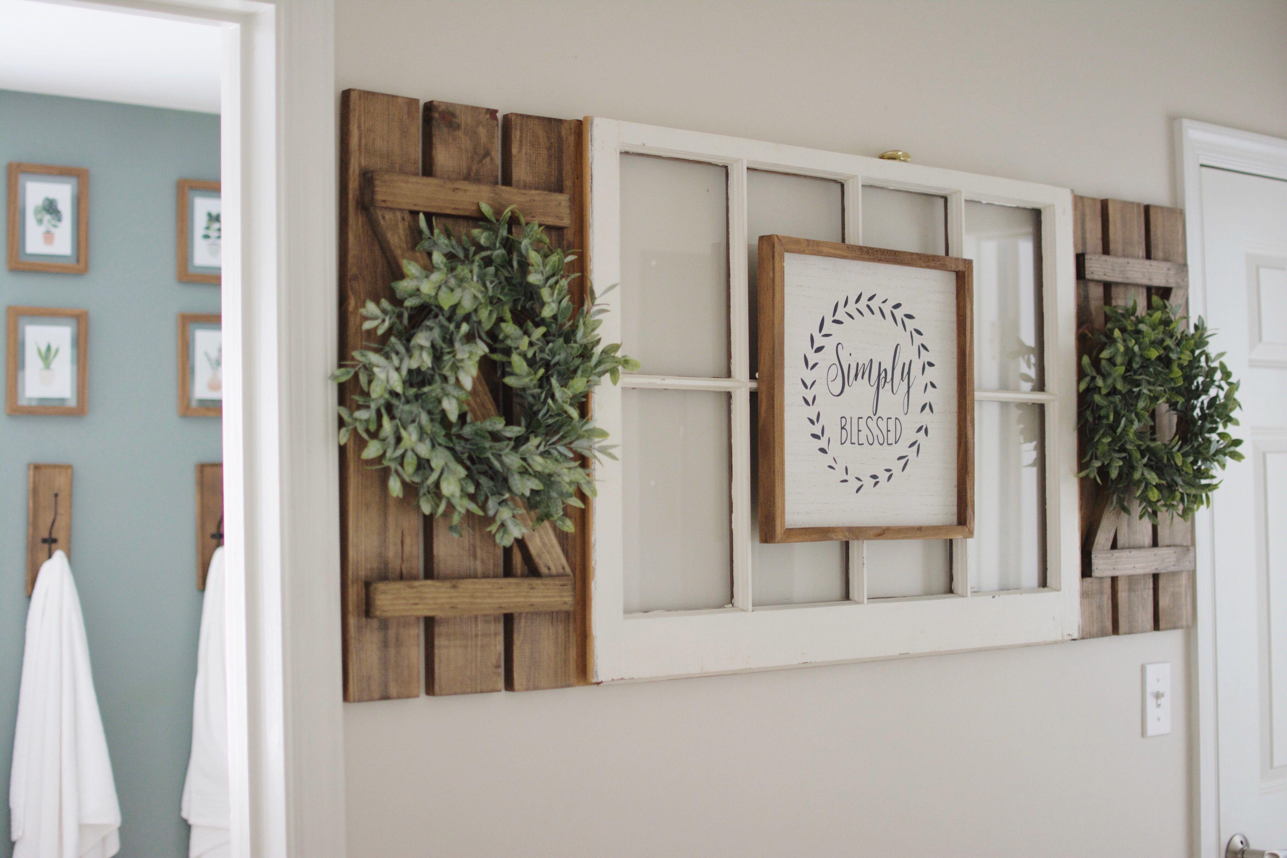 Antique Window Diy Shutters Wreaths Hallway Shutter Wall Decor Window Wall Decor Farmhouse Decor