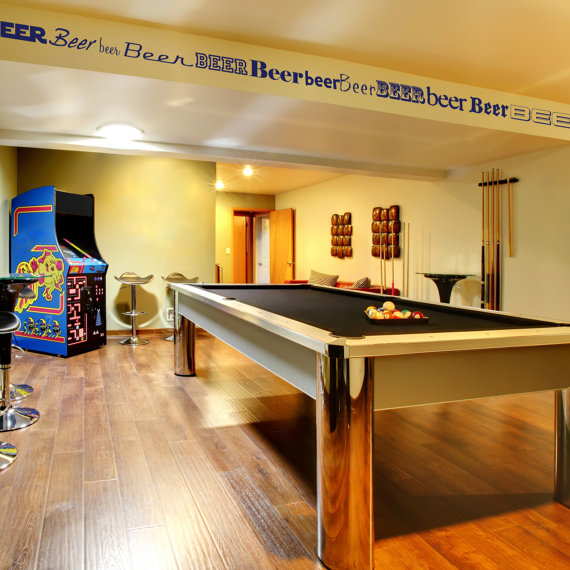 Basement Decorating Ideas For Men: Beer Border - Man Cave Wall Decor