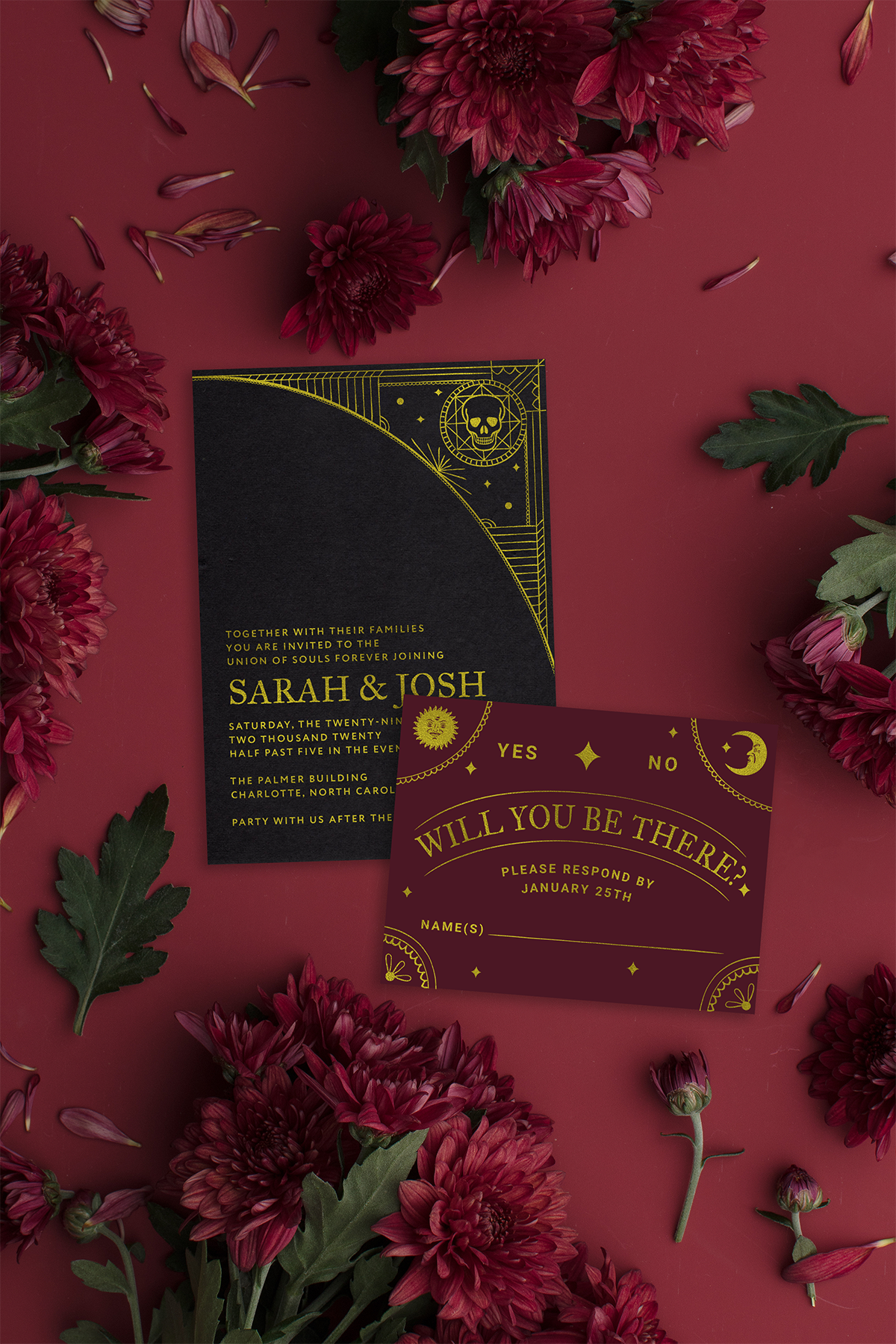 tarot card  ouija board inspired wedding invitations