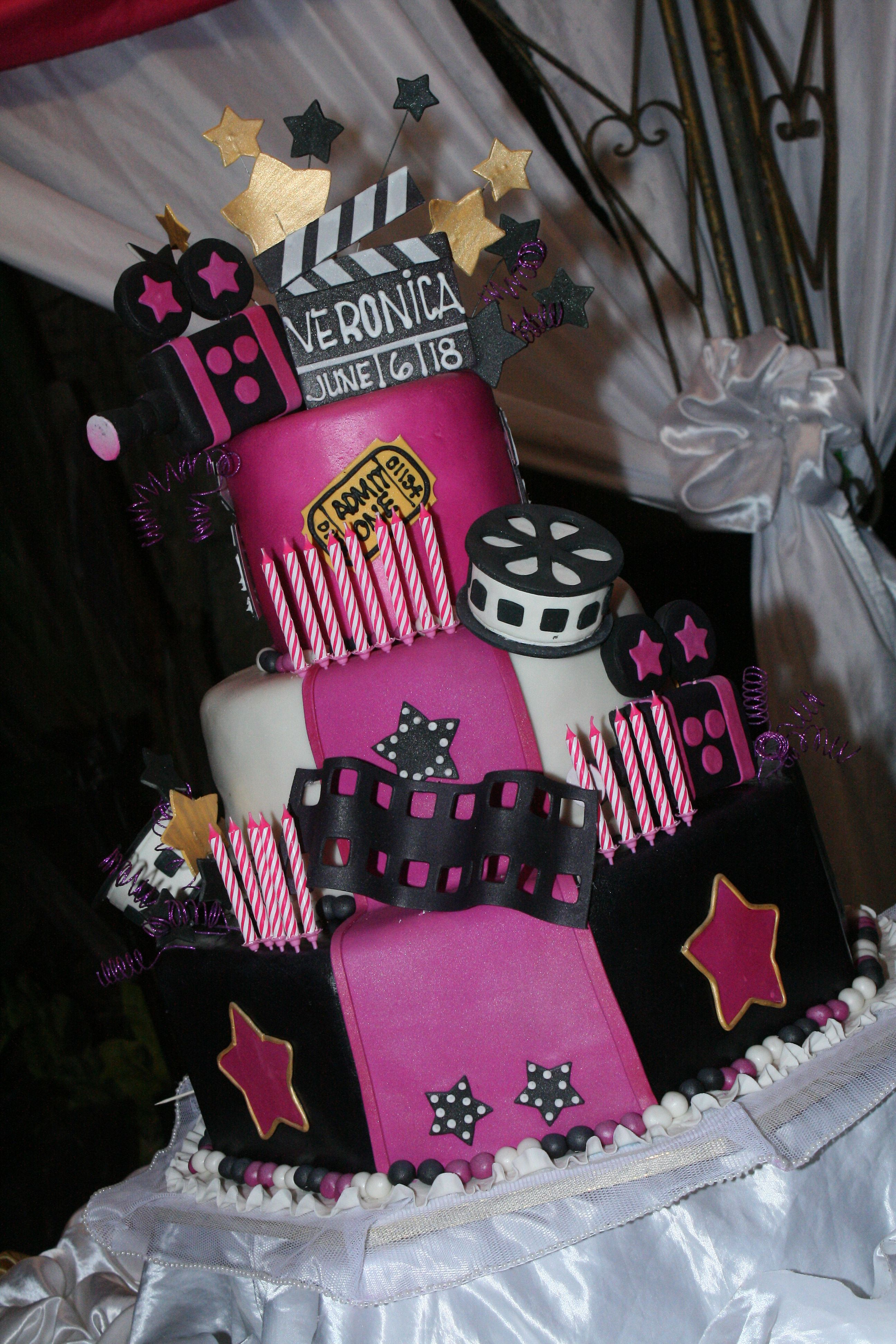 Pink Hollywood Themed Cake Sweets Amp Snacks Pinterest