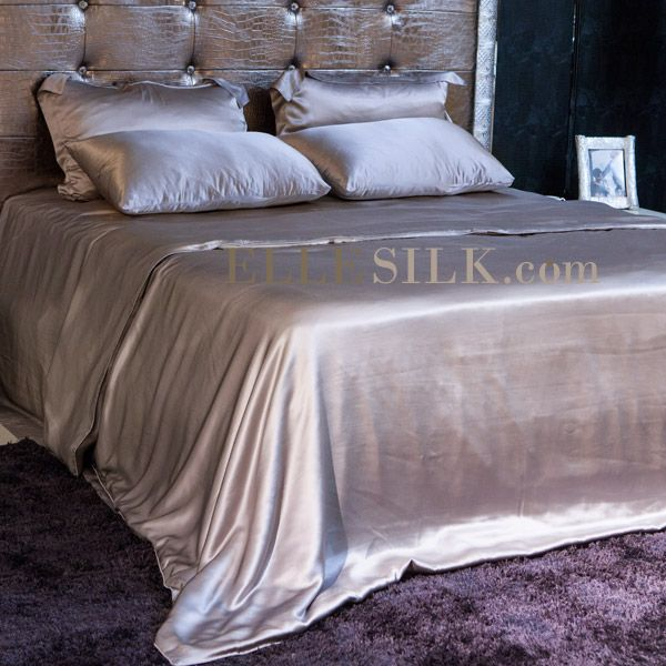 Silver Silk Bedding Sets Queen Fitted Flat Sheet Oxford
