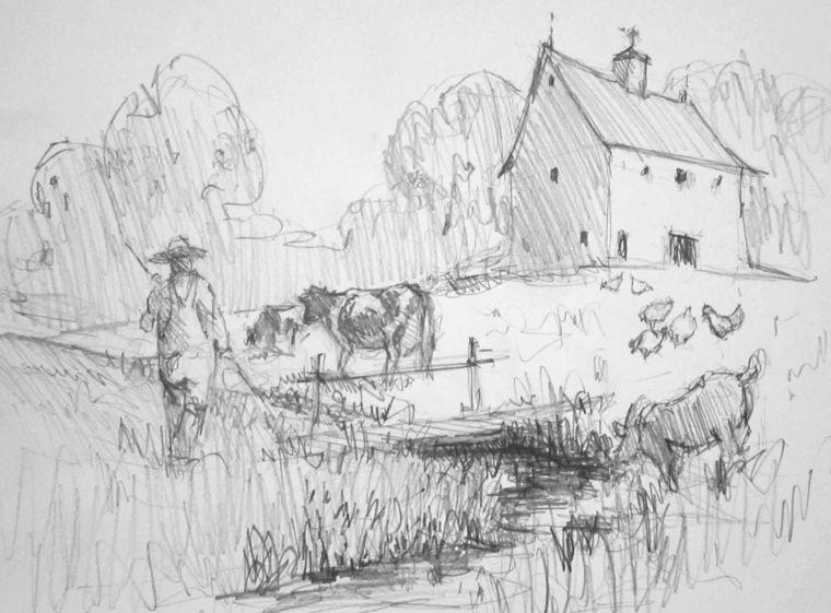 Immagini da disegnare facili paesaggio casa rurale sfondo for Disegni di casa piano aperto