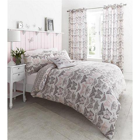 Duvet · Tesco direct: Catherine Lansfield Pastiche Butterflies Pink Duvet  Cover ...