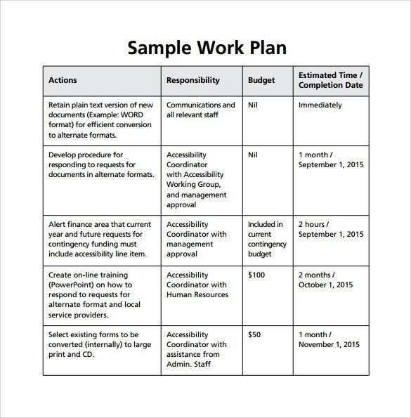 Monthly Work Plan Sample Gecce