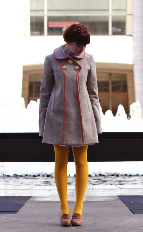 Yellow tights  coat